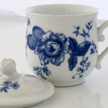 Blue and white chocolate pot with lid
