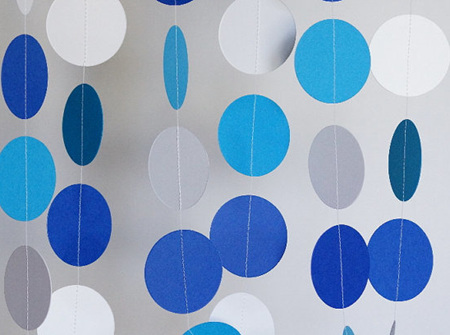 Blue and white paper garland