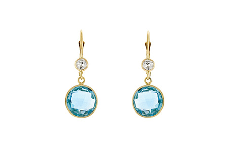 Blue and White Topaz Gold Drop Earrings