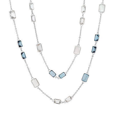 Blue and White Topaz Necklace