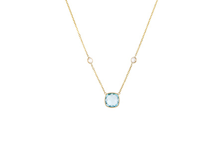 Blue and White Topaz Three Stone Necklace