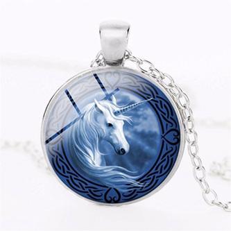 Blue Background Unicorn Necklace