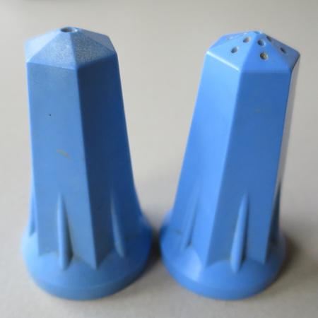 Blue bakelite salt and pepper