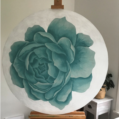 Blue Blossom - painting on wood - 105cm diameter