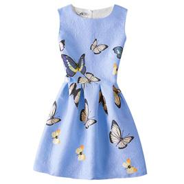 Blue Butterfly Girls Dress