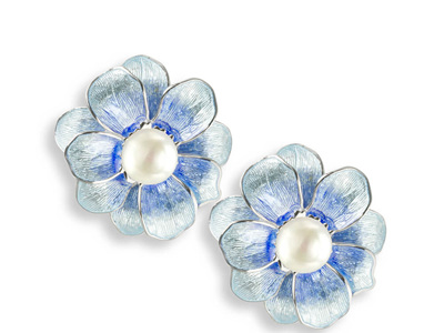 Blue Camellia Earrings