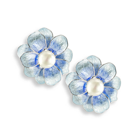 Blue Camellia Earrings