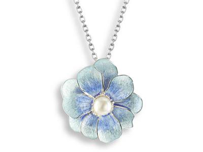 Blue Camellia Necklace