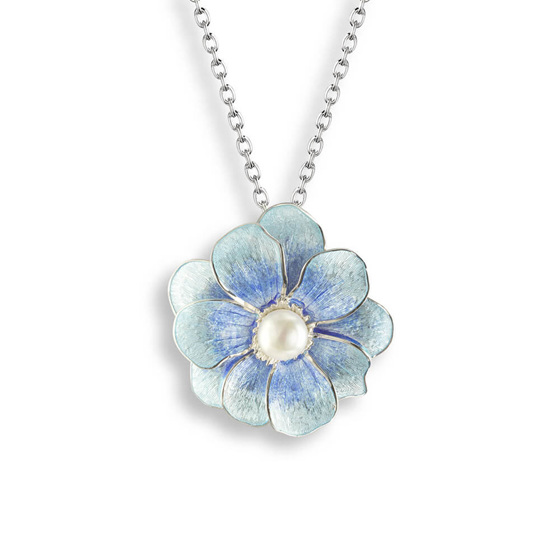 Blue Camellia Necklace