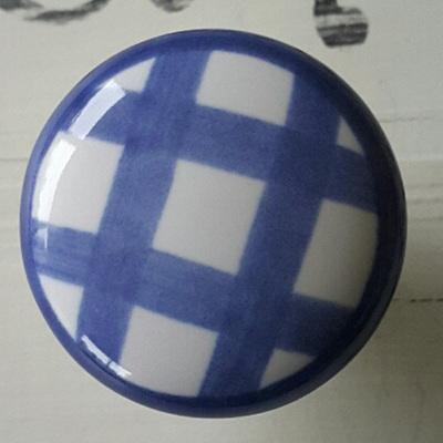 Blue Check Ceramic Knob