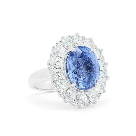 Blue Dahlia: Blue Sapphire and Diamond Cluster Ring