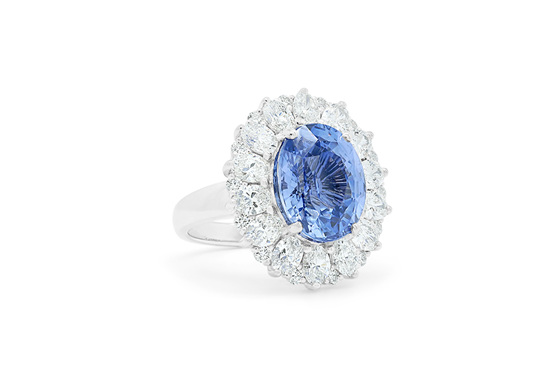 Blue Dahlia: Blue Sapphire and Diamond Cluster Ring