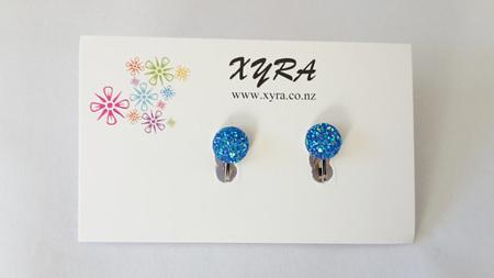 Blue Druzy Clip-on Earrings