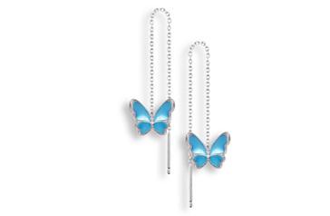 Blue Enamel Butterfly Threader Earrings