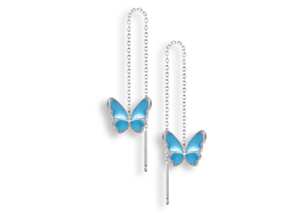 Blue Enamel Butterfly Threader Earrings