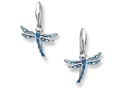 Blue Enamel Dragonfly Earrings