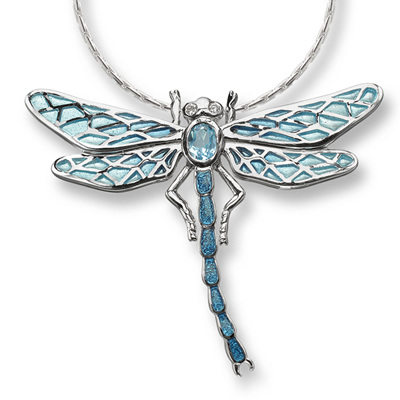 Blue Enamel Diamond and Topaz Dragonfly Necklace