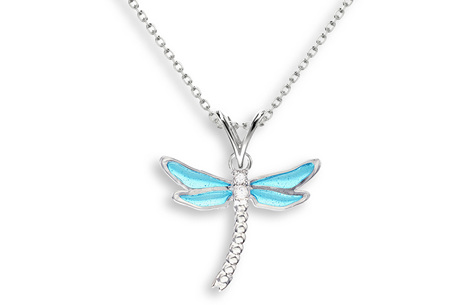 Blue Enamel Dragonfly Necklace
