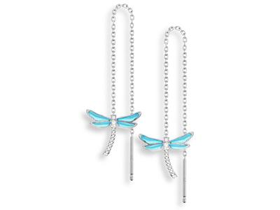 Blue Enamel Dragonfly Threader Earrings