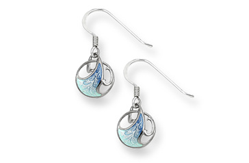 Blue Art Nouveau Wave Earrings