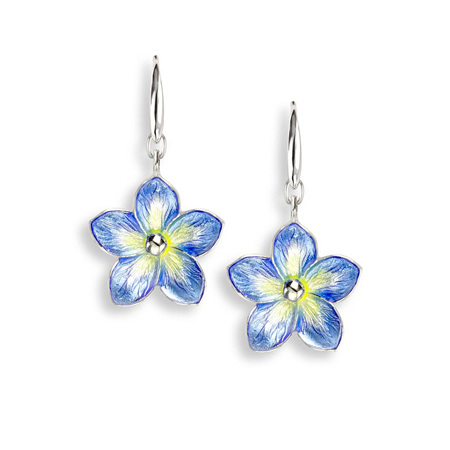 Blue Enamel Forget Me Not Dangle Earrings