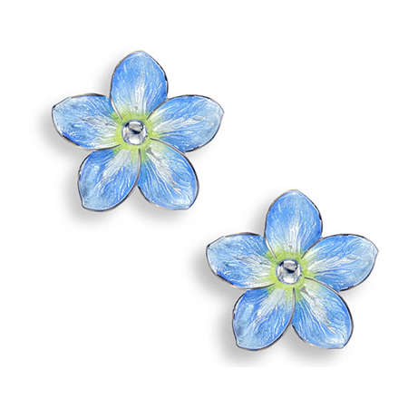 Blue Enamel Forget Me Not Flower Earrings