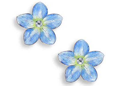 Blue Enamel Forget Me Not Flower Earrings