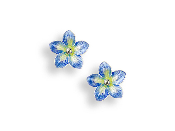 Blue Enamel Forget Me Not Flower Earrings - Small