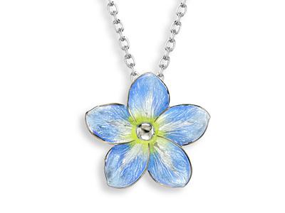Blue Enamel Forget Me Not Flower Necklace