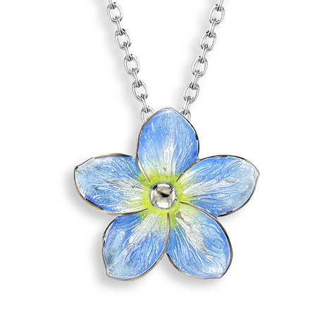 Blue Enamel Forget Me Not Flower Necklace