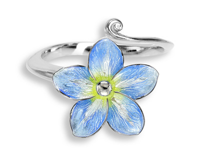 Blue Enamel Forget Me Not Flower Ring
