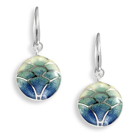 Blue Enamel Lotus Flower Drop Earrings