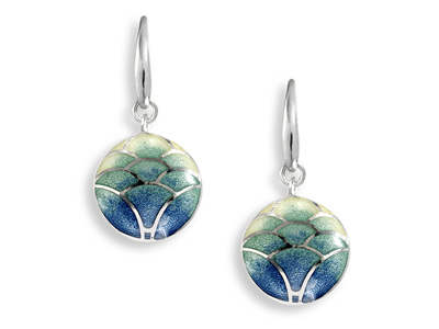 Blue Enamel Lotus Flower Drop Earrings
