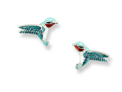 Blue Enamel Sterling Silver Hummingbird Earrings
