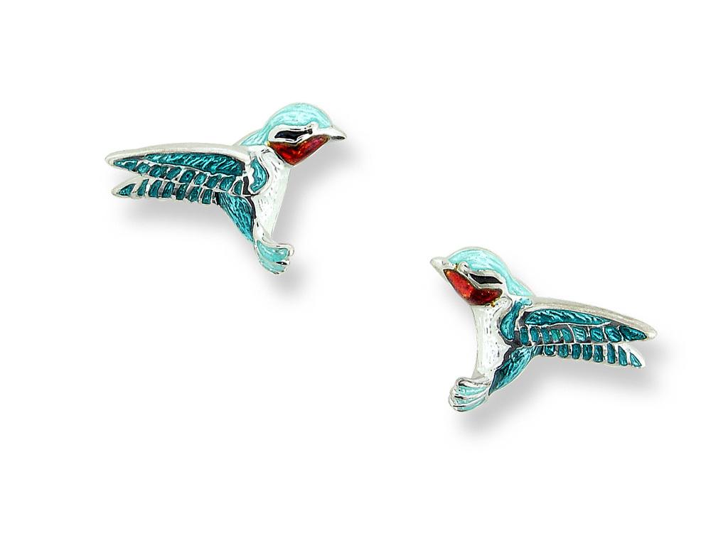 Blue Enamel Sterling Silver Hummingbird Earrings