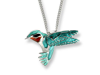 Blue Enamel Sterling Silver Hummingbird Necklace