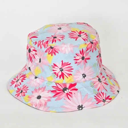 Blue Floral Bucket Hat - Child size large