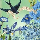Blue Garden Happy Birthday card