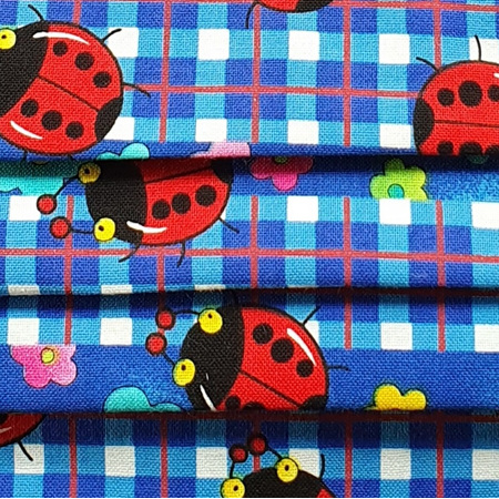 Blue Gingham Ladybugs
