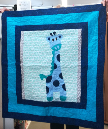 Blue Giraffe Cot Quilt