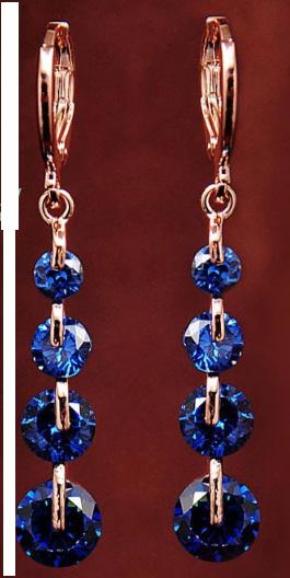 Blue & Gold 4 Stone Dangle Earrings