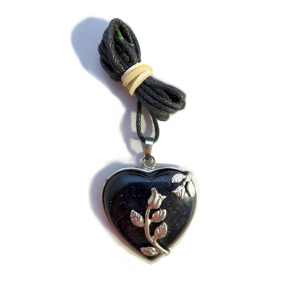 PS32 Blue Goldstone Heart Pendant