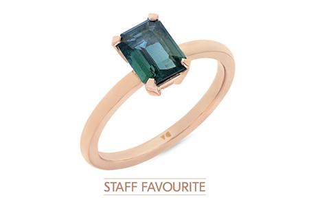 Blue-Green Sapphire Ring