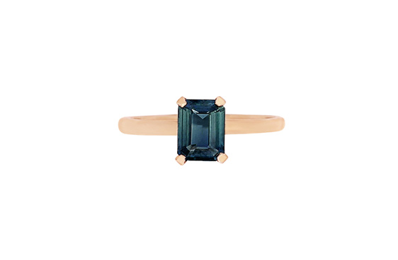 Blue-green sapphire solitaire in rose gold