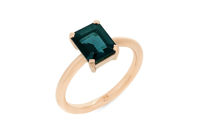 blue green tourmaline solitaire dress ring rose gold