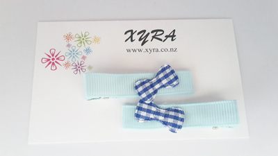Blue Hair Clips with Cute Ribbons