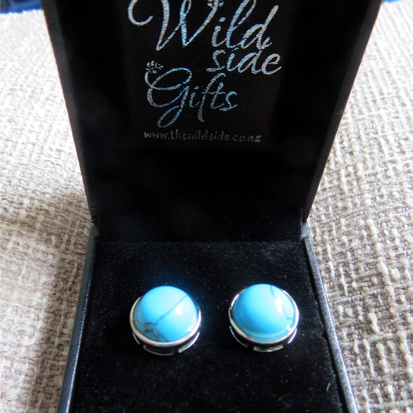 Blue Howlite Stud Earrings in jewellery box