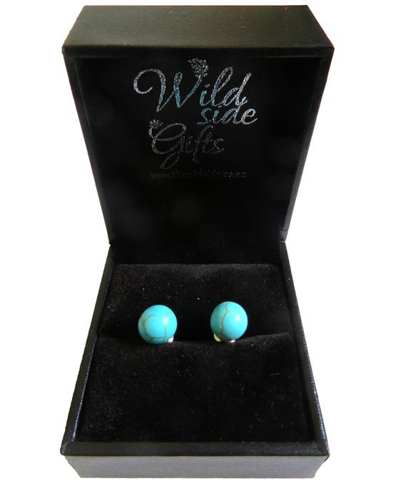 Blue Howlite Stud Earrings in jewellery box