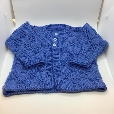 Blue Knitted Merino Wool Matinee Jacket - 0-6 months