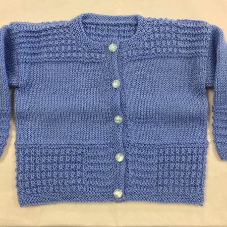 Blue Knitted Wool Cardigan - 0-6 months